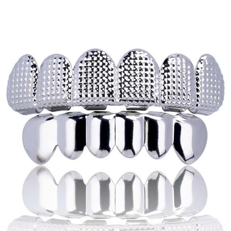 Protesi Cura Oro Caps Denti Reticolo a Forma di Hip Hop Rapper Bling delle Denti Placcatura Dorata Texture Urto Superiore e Inferiore grill Set
