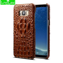 LoveCase Genuine leather 3Drelief crocodile pattern phone back cover for Samsung Galaxy S8 S8plus luxury high quality phone case
