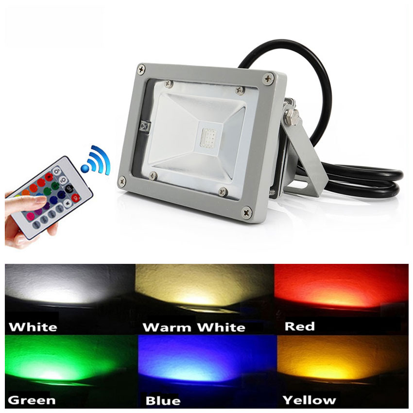 10W LED Flood Light Cold/Warm/Red/Green/Blue/RGB Reflector Spotlight Outdoor Wall Lamp Projectors-in Floodlights from Lights & Lighting