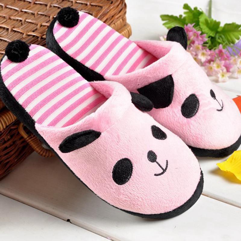 Women's Cute Cotton Panda Warm Plush Flat Winter Slippers Female Plus Size Soft Home Floor Shoes Ladies Comfort Footwear