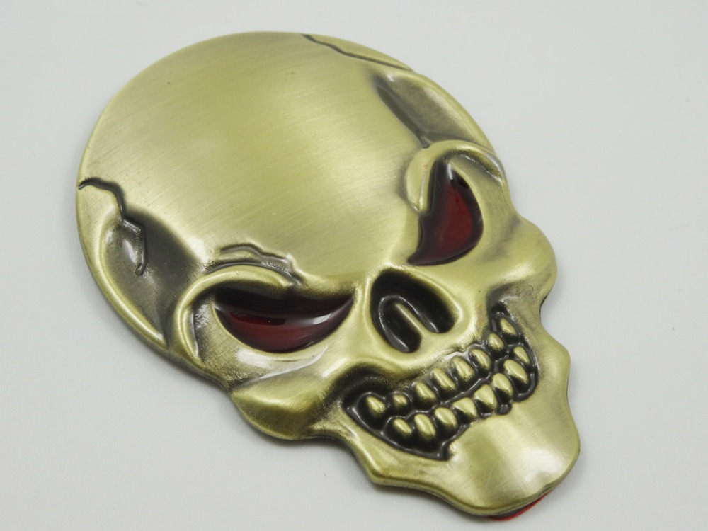 SUKO Hot sale 1PC NEW Creative Cool Personalized 3D Car Sticker Zinc Alloy Devil Skull Bone head Auto Metal Emblem Badge Decal