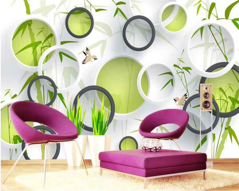 US $8 85 OFF Beibehang Wallpaper Kustom Hijau Burung Bambu 3D Lingkaran Foto Pemandangan Latar Belakang Wallpaper Dinding Dekorasi Rumah 3D