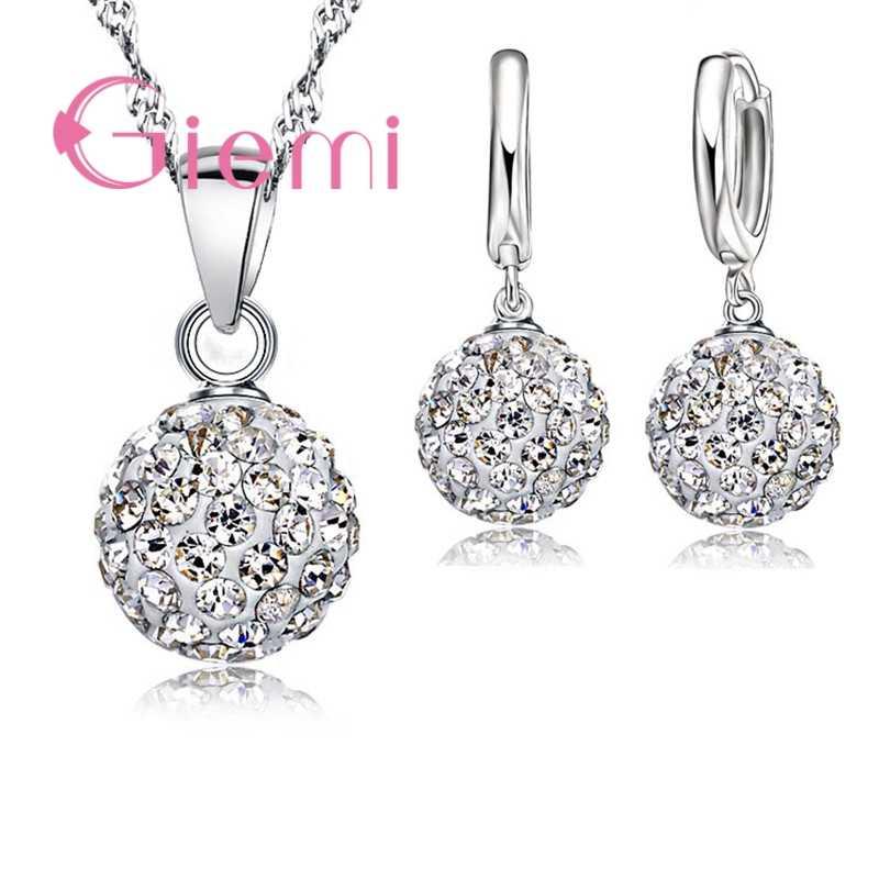 Große Förderung Schmuck Sets 925 Sterling Silber Österreichischen Kristall Pflastern Ball Hebel Zurück Ohrring Anhänger Halskette für Frau