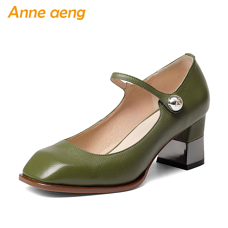 New Spring Autumn Genuine Leather Women Pumps High Heels Cow Leather Upper Square Toe Sexy Ladies