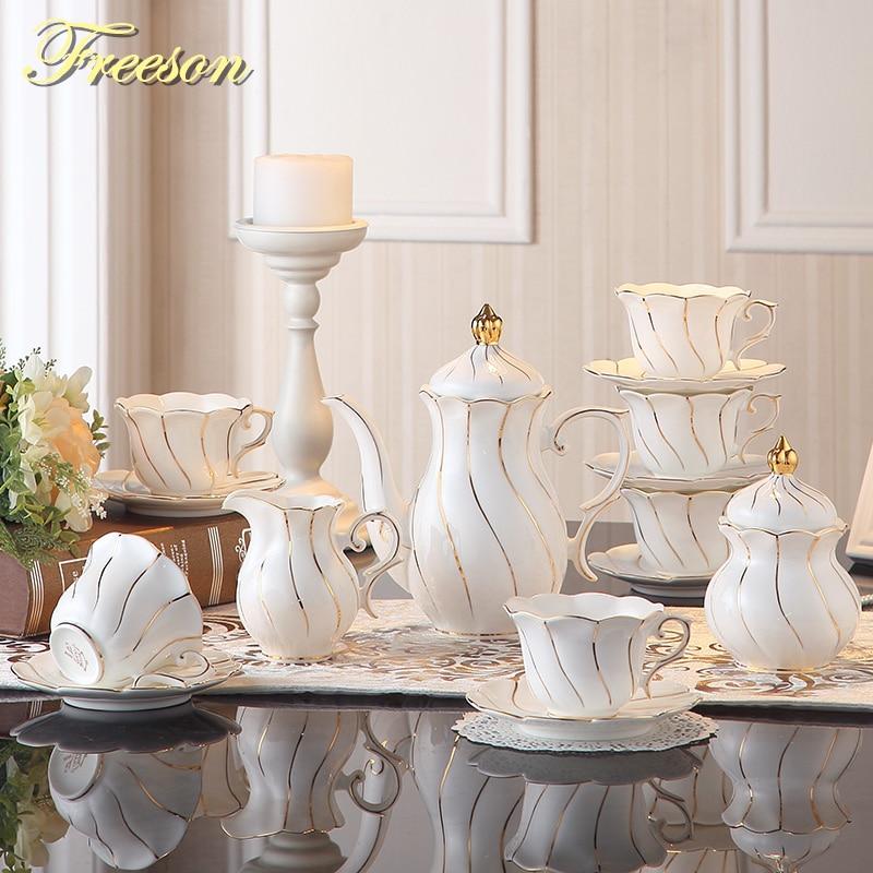 Gold Inlay Bone China Coffee Set Europe Porcelain Tea Set Ceramic Pot Creamer Sugar Bowl Teapot Coffee Cup Tea Mug Coffeeware