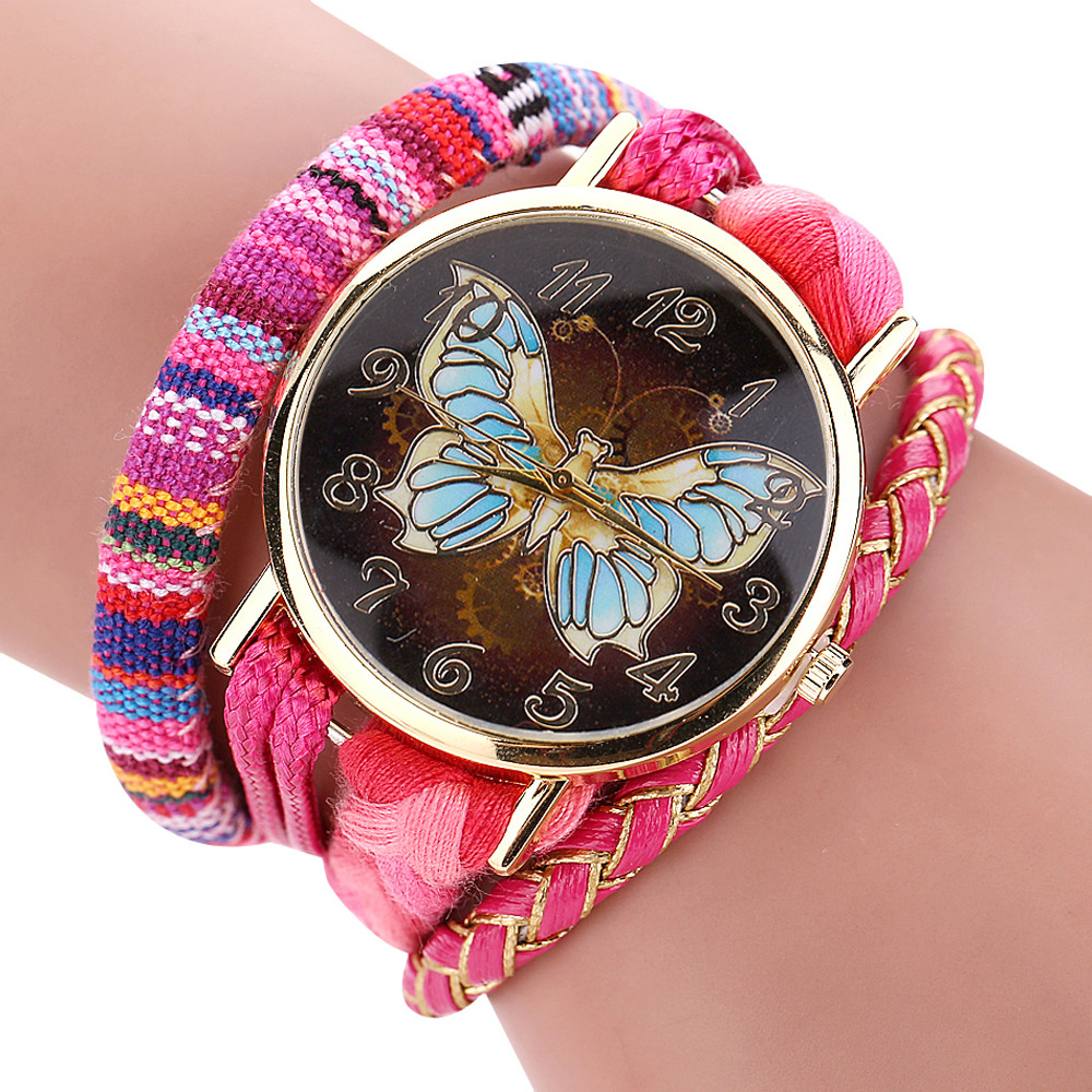 2017 Hot Sleek Stylish And Chic Knit Bracelet Butterfly Watch Ladies Decorative Sep 9 ...