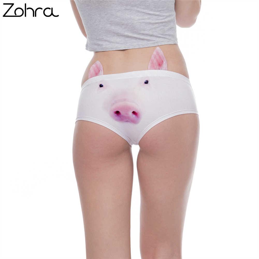 ab68fc9f9441 Zohra New Arrvial Women Fashion Ear Underwear Kawaii Pig 3D Printing Sexy  Panties Woman Underwear