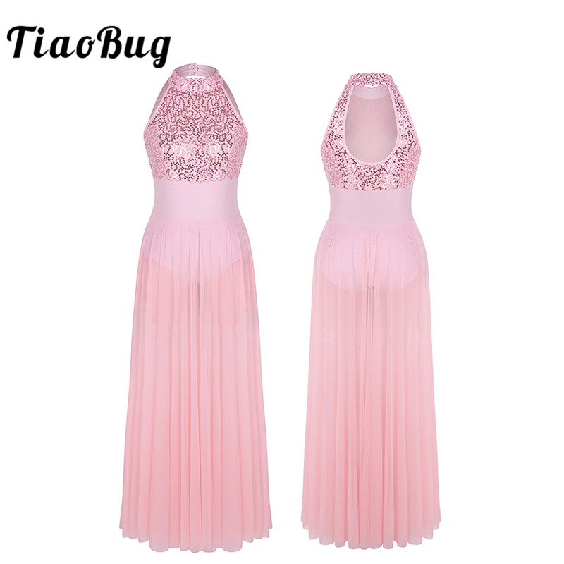 <font><b>TiaoBug</b></font> Women Sequins Stage Performance Lyrical Dance Costumes Ballet Leotard Adult Sleeveless Ballet Tutu Maxi Mesh Dance Dress image