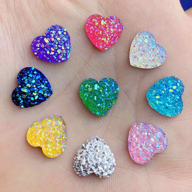 80PCS 12mm glitters AB Colors Mineral Surface Heart Resin Rhinestone Flatback Cabochon Stone DIY Wedding Decoration Crafts