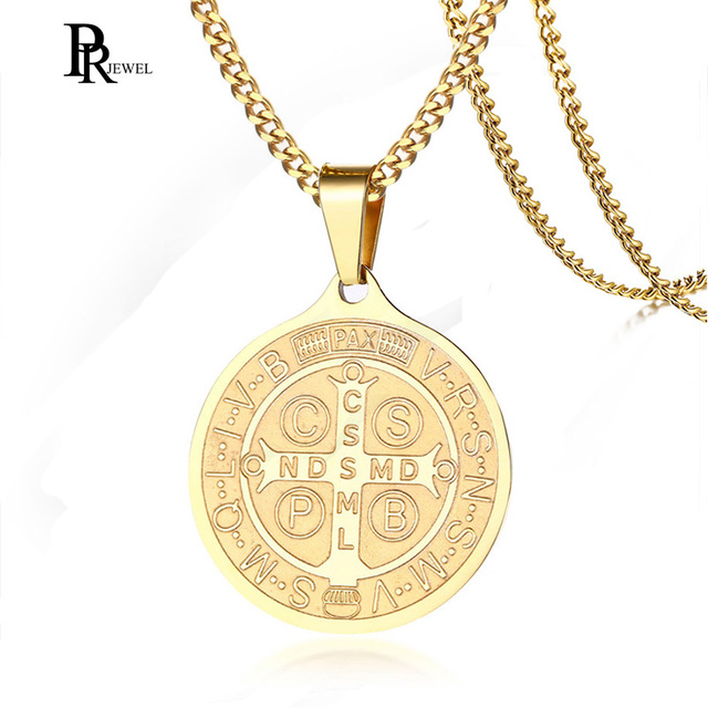 US $9 98 |Stainless Steel Gold Saint Benedict Medal Catholic Saint Medals  Pendant Necklace for Men Women-in Pendant Necklaces from Jewelry &