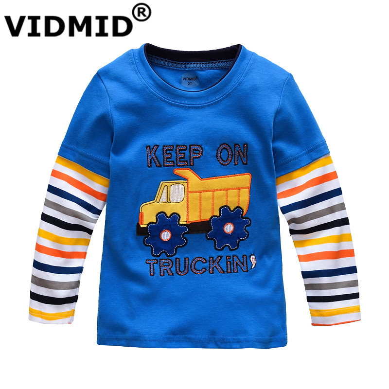 VIDMID Boys T-shirt Kids Tees Baby Boy brand tshirts Children blouses Long Sleeve 100% Cotton cars trucks stripes free shipping
