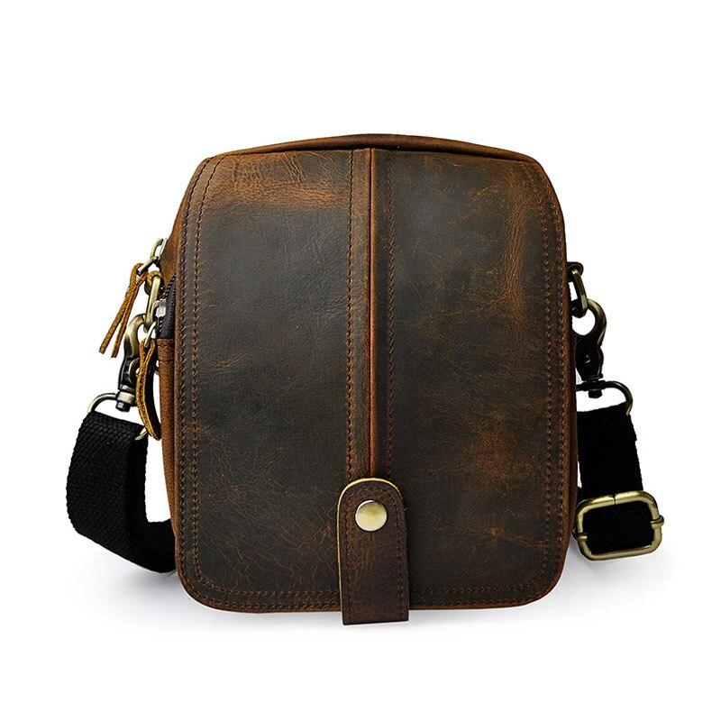 цена Brand Retro Genuine Leather Multi-function Casual Bag Men's Mini Shoulder Bag Messenger Bags Waist Belt Travel Cell Phone Pack онлайн в 2017 году