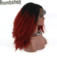 Bombshell Black Ombre Wine Red Burgundy Afro Kinky Curly Synthetic Front Lace Wig Heat Resistant Fiber With Hair For Black Women