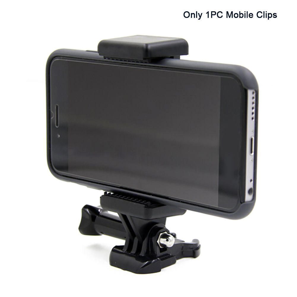 Portable Black Camera Accessory Adjustable Mount With 1/4 Screw Hole Phone Holder Stand Bracket Clip Tripod Adapter For GoPro