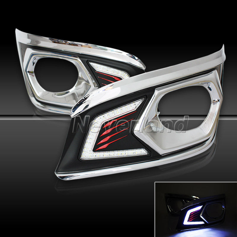ФОТО For Toyota Fortuner 2012 2013 Chrome LED Daytime Running Light with Fog Lamp Hole Wholesale D10