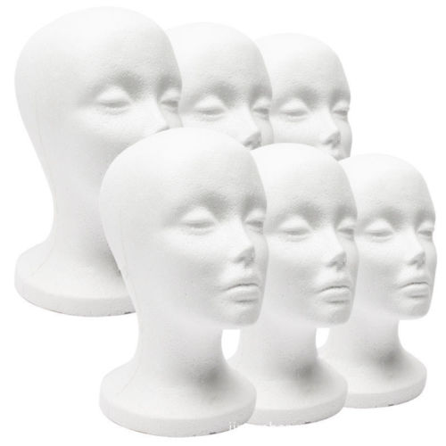 Female Styrofoam Mannequin Wig Glasses Hat Display Stand Popular Foam Head Model Storage Holders White 1PC
