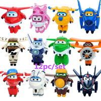 12pc Mini Super Wings Deformation Mini JET ABS Robot toy Action Figures Super Wing Transformation toys for children gift