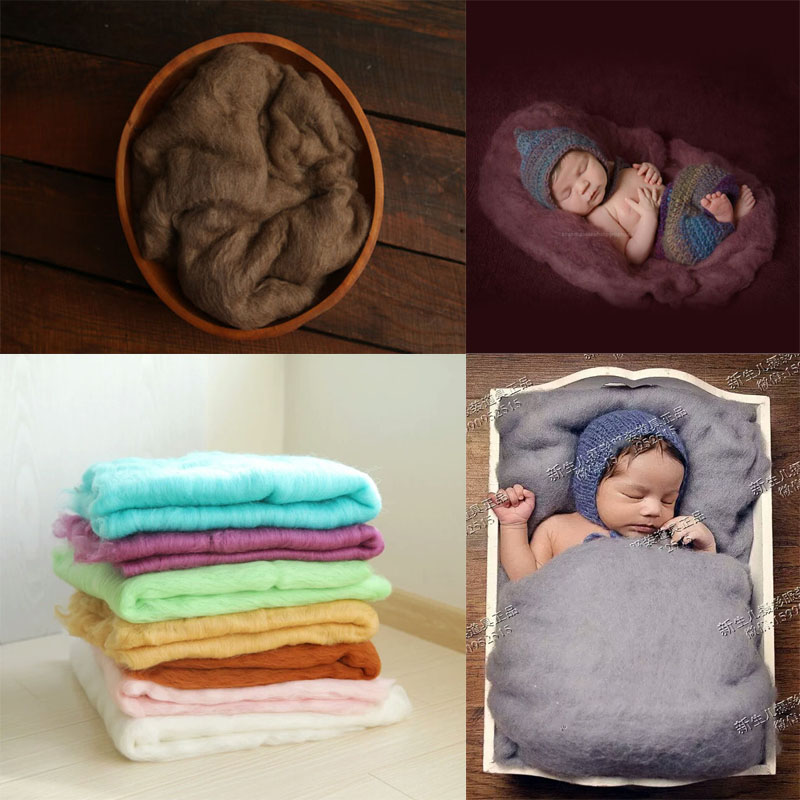 100% Wool Blanket Newborn Photography Props Basket Stuffer Blanket Baby Photo Prop Backdrop Posing Carpet Photo Props 60*60CM X