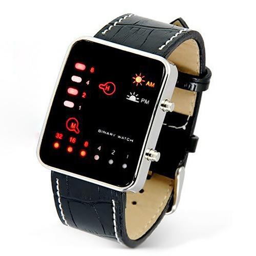 e5a1695a759 Esportes da Forma dos homens Digital LED Binary Display Faux Leather Strap  Relógio de Pulso
