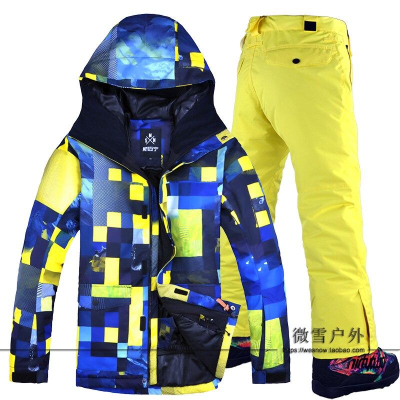 2019 hommes Ski costume Snowboard veste pantalon coupe-vent imperméable à l'eau en plein air Sport porter Super chaud vêtements pantalon mâle hiver à capuche