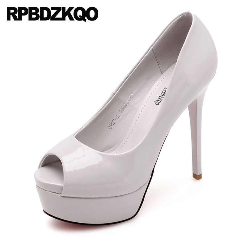 Sexy Patent Leather Pumps Women Stiletto High Heels Fish Mouth Nude Platform Shoes 12cm 5 Inch Super Peep Toe Ultra Fetish Gray