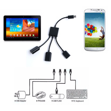 Wholesale 3 in 1 Micro USB male to female DUal Host OTG Hub adapter cable