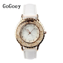 2016 Gogoey Brand Crystal Leather Watches Women Lady Fashion Casual Dress Quartz Wristwatches Clock 122 hot sales gogoey brand pair watches men women lovers couples fashion dress quartz wristwatches 6699