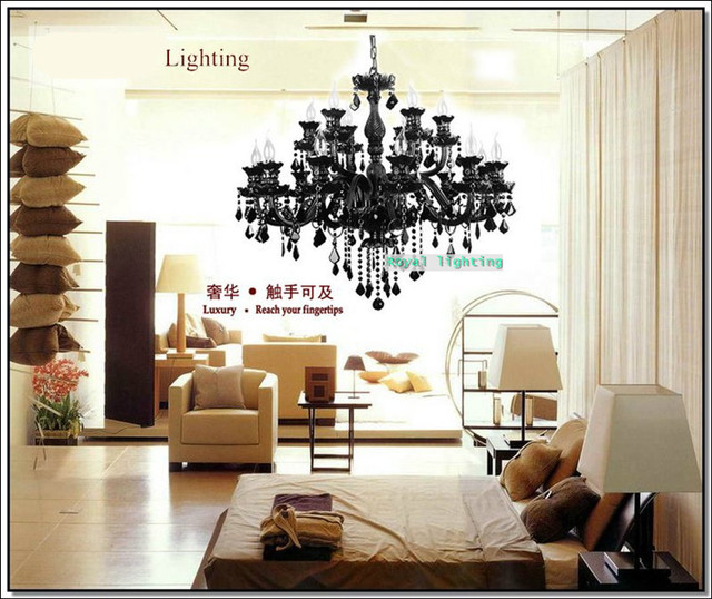 Large dark black chandelier crystal chandelier 15 arms cristal large dark black chandelier crystal chandelier 15 arms cristal lustres led luminaria fashion shop hotel living aloadofball Choice Image