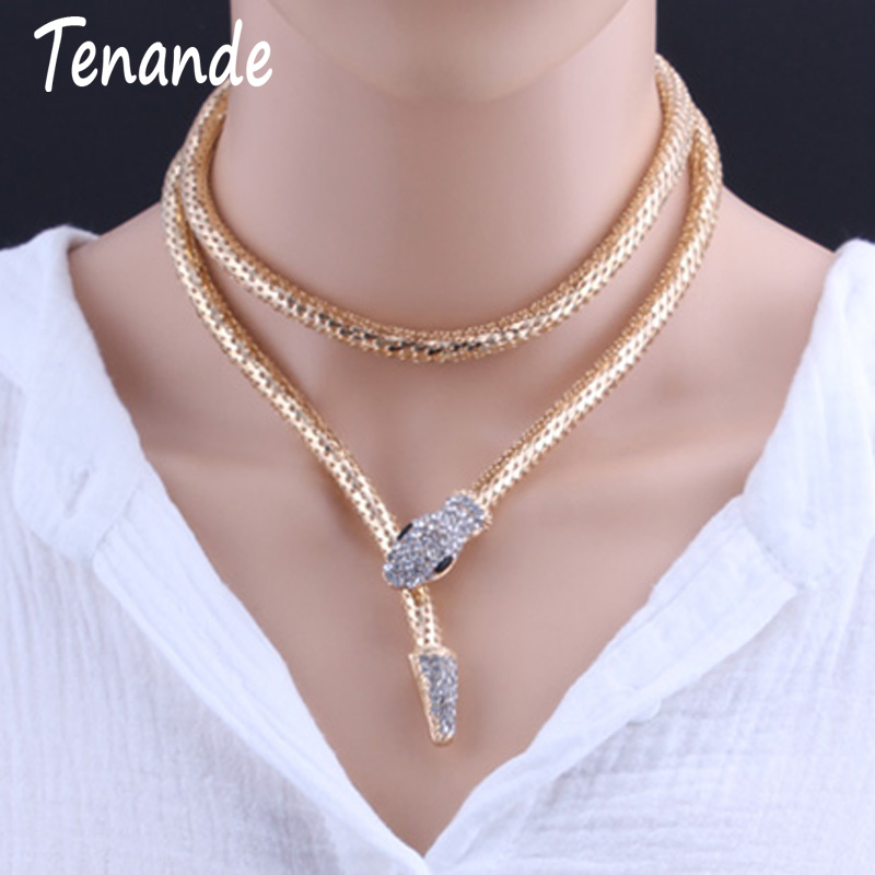Hyperbole Gold Color Snake Chain Necklaces