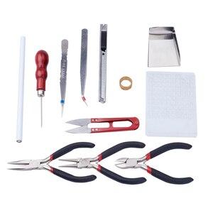 Pandahall Jewelry Making DIY Pliers Tools Set Flat Round Nose Pliers Wire Cutter Pliers Rings Scissor Needles Beading Tweezer