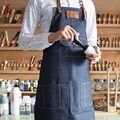 Coton lavé Denim tablier salopette clou homme et femme Barista impression Western restaurant fleuri