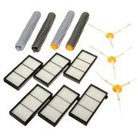 6pcs Hepa Filter 3pcs 3 Armed Side Brushes 4pcs Debris Extractor Brushes For IRobot Roomba 800