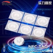 Etiqueta adesiva ntag 100 chip, 50 500 1000 peças nfc ntag215 chip etiqueta para tagmo fórum type2 adesivos frete grátis