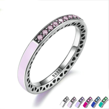 2017 New Really 100% 925 Sterling Silver Pink CZ &lilac heart Enamel Ring Compatible with pan Jewelry for Women Wedding Ring