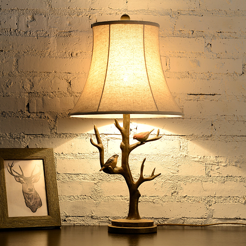 ФОТО European-style living room table lamp desk classical furnishings with Bird resin luxurious sofa table lamp home support