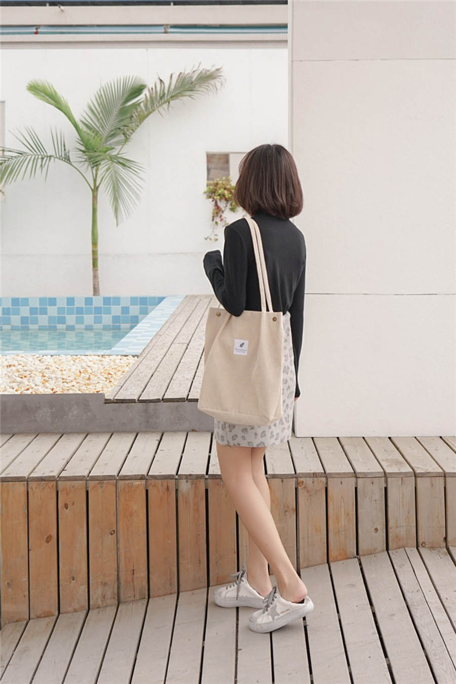 Mara's Dream High Capacity Women Corduroy Tote Ladies Casual Solid Color Shoulder Bag Foldable Reusable Women Shopping Beach Bag 30