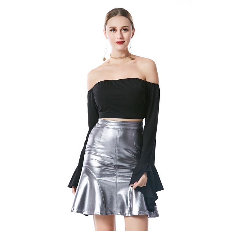 Fashion Spring Women Ruffles A-line Skirt Faux Leather High Waist Skirts Silver Slim Wrap Bodycon Skirt For Ladies Party  M L XL