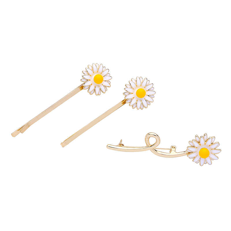 1 Set/3 Pcs Manis Jepit Rambut Fashion Perhiasan Enamel Daisy Bunga Rambut Klip untuk Wanita Indah Bunga Rambut Pins bros Aksesoris