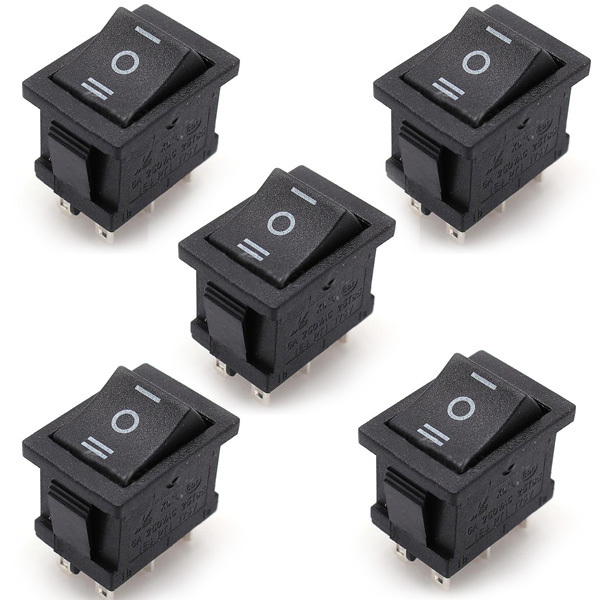5 Pieces/Lot  AC 6A/250V 10A/125V  5X 6Pin DPDT ON-OFF-ON Position Snap Boat Rocker Switches