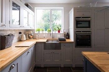 Мебель для кухни из цельного дерева с 18 мм фанерным каркасом и 20 мм дубовым деревом, 2019