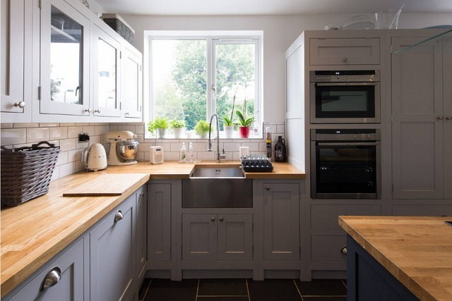 2017 Top diseño antiguo de madera maciza muebles de cocina con 18mm ...