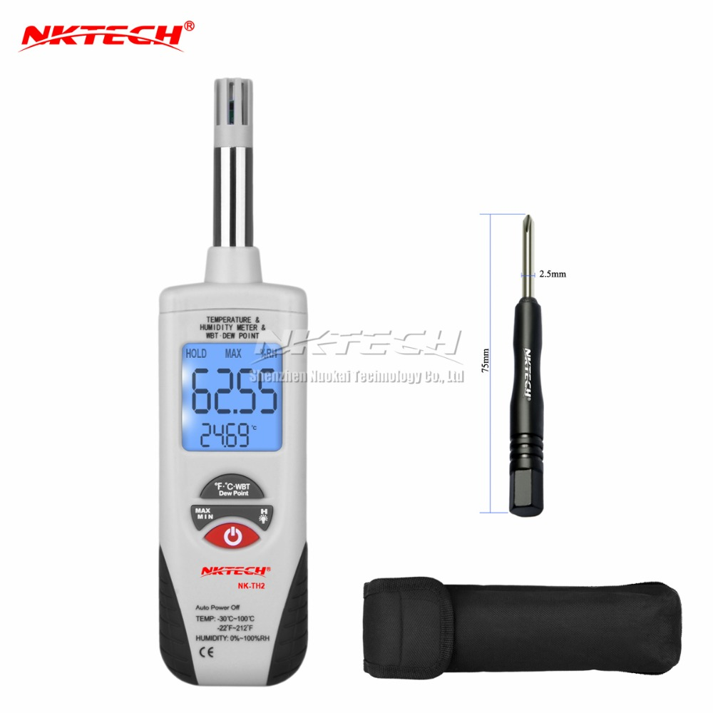 NK-TH2 Digital Thermometer Hygrometer LCD Temperature Meter Humidity Tester Wet Bulb/Dew Point Temperature Detector NKTECH цена 2017