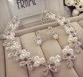 Nuevos accesorios nupciales accesorios del vestido de boda cristal de perlas collar de bisutería clip de oreja pedazo libera el envío