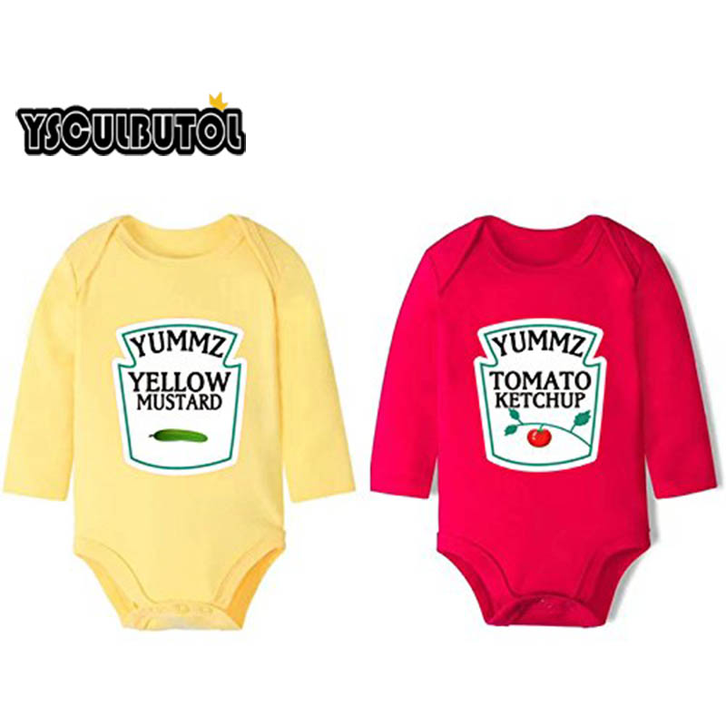 YSCULBUTOL Cotton Long Sleeve Ketchup and Mustard Set Bodysuits Twins Outfit One Piece Cute Funny Clothing bollard twins outfit