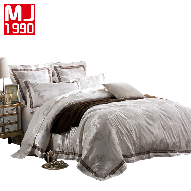 New 4pcs/6pcs European Royal Family Palace Satin Silk Jacquard Embroidery Cotton Embroidery Cotton Bedding Set Wedding Suite