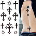 1 Unid 3D Etiqueta Engomada Del Tatuaje Impermeable Hexagrama Cruz Patrón Temporal Brazo Tatuajes Body Art 8318819