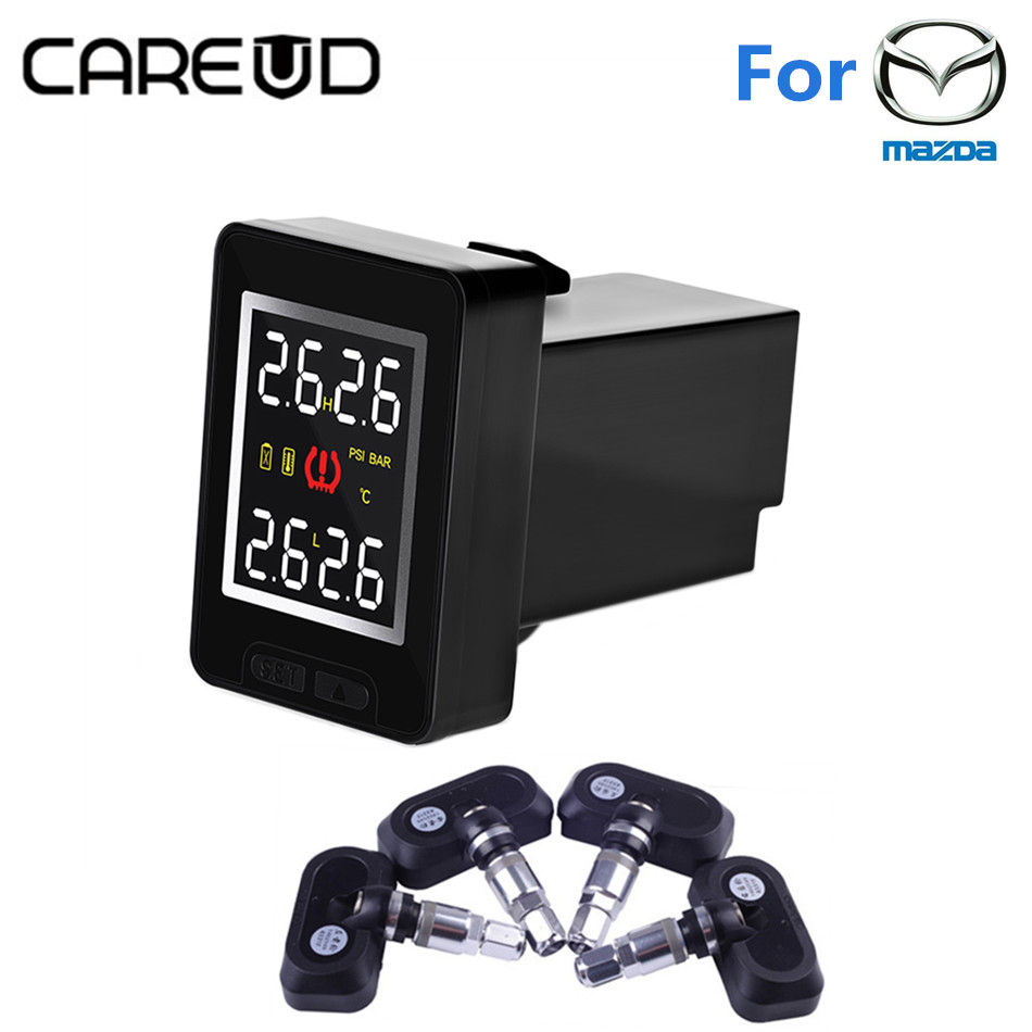 CAREUD TPMS Tire Pressure Monitoring System U912 Auto Alarm with 4 Internal Sensors Wireless LCD Display for Mazda careud wireless solar power tpms tire pressure monitoring system auto alarm with 4 sensors for peugeot toyota and all cars