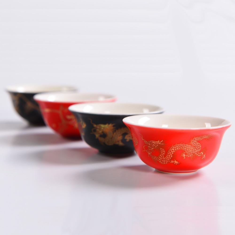 22ML Kinesisk te-koppesett Keramisk teesett Bryllupsgaver Porselen Elegant Kaffe Teacups Drage Te Skål Beste Gave til Venn D051