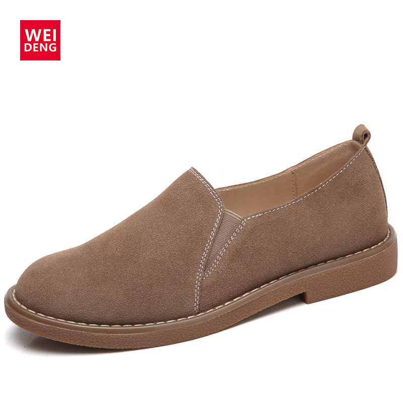 WeiDeng Genuine Leather Cow Suede Winter Shoes Women Casual Boat Fashion Footwear Flats Slip On Ladies Loafers Zapatos Mujer siketu sweet bowknot flat shoes soft bottom casual shallow mouth purple pink suede flats slip on loafers for women size 35 40
