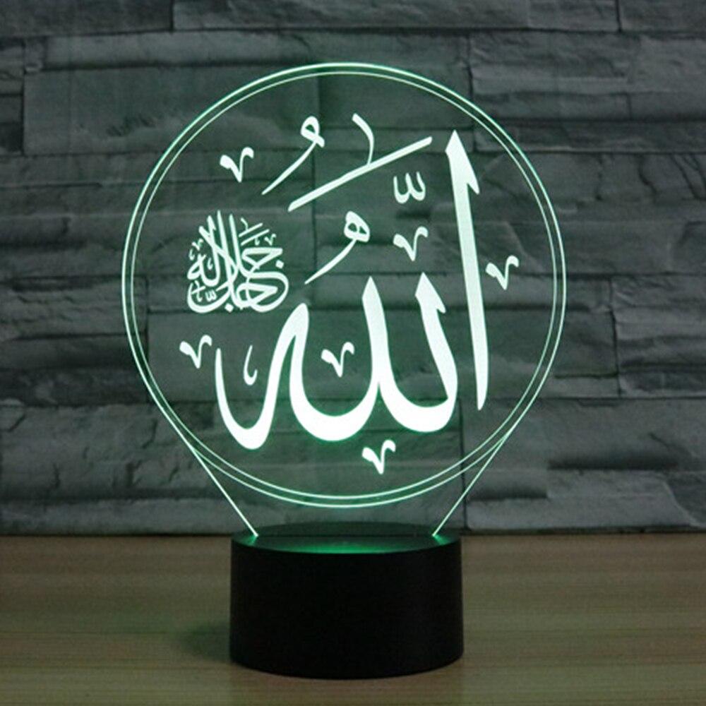 7 Colores Que Cambian La Luz De Noche Islámica Muhammad 3d Led Visual Lampara Lámpara De Escritorio De Mesa Usb Niños Cama De Dormir Iluminación Regalos De Decoración DiseñOs Atractivos;